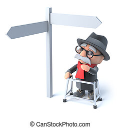 3d Grandpa looks at a road sign - 3d render of an old man...