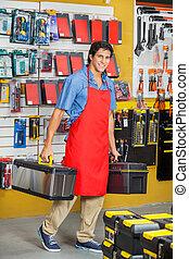 Sprzedawca, transport, Toolboxes, Znowu, pieszy, w,...