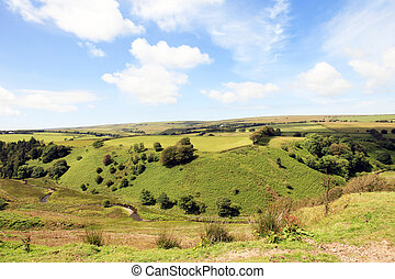 Rugged farmland Exmoor - Rugged farmland steep valley and...