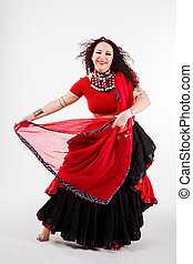 tribal dancer with red shawl - tribal dancer in black skirt...