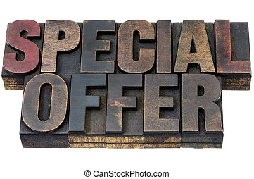 special offer in wood type - special offer - isolated words...