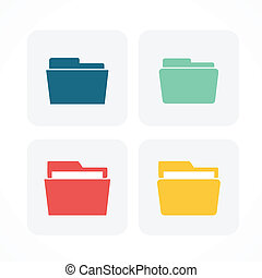 Folder icons  4 diferent color.Flat style