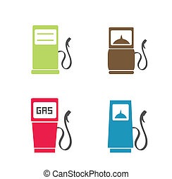 Gas pump icons - Gas pump flat style icons isolated on white
