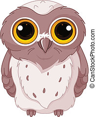 Cute owlet - Illustration of owlet stares wide-eyed