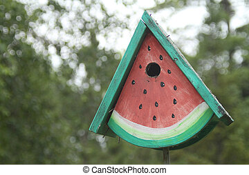 Birdhouse shaped like watermelon - birdhouse shaped and...