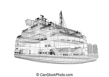 ferryboat  Cargo 3D model body structure, wire model