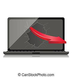 Broken Black Laptop with red arrow - Broken Black Laptop and...