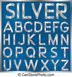 Silver Font - vector english alphabet. Silver metallic shiny...