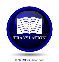 Translation book icon. Internet button on white background....