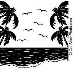 Black and white tropical landscape