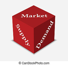 dice in red color with concept of market economy - EPS 10...