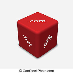 dice in red color with concept of Internet domains - EPS 10...