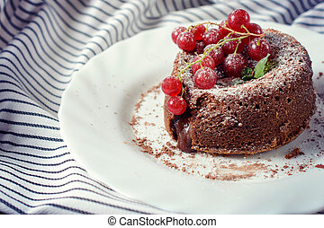 Sweet lava cake - Sweet homemade lava cake with red...
