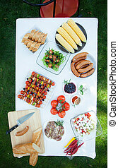 Barbecue table bird eye view - Barbecue table with tasty...