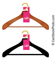 Wooden Coat Hanger With Sale Tag