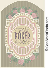 Vintage casino poker card, vector illustration