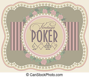 Vintage poker label banner, vector illustration