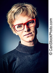 goodlooking - Portrait of a serious handsome young man in...