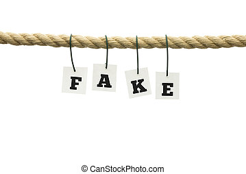 Word - Fake - suspended from a rope with each individual...
