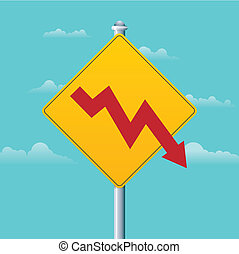 Deficit Warning Sign - Vector illustration of a deficit...