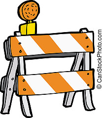 Cartoon Construction Barricade - Isolated reflective flasher...