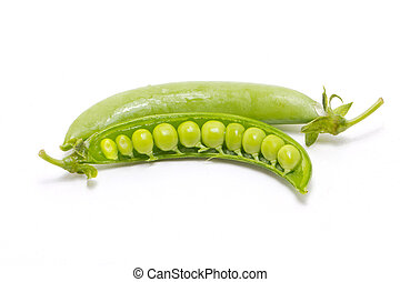 Green peas isolated on white.