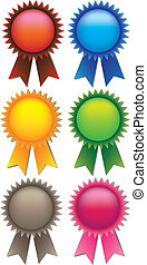 Prize ribbons - A set of 6 vector illustrate prize ribbons...