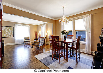 House inteior. View of living room and dining area -...