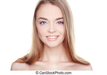Happy and beautiful - Face of smiling woman with makeup...