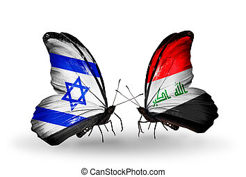 Two butterflies with flags on wings as symbol of relations Israel and  Iraq