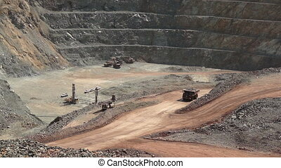 Industrial Mining Ore Pit Timelapse - High angle time lapse...