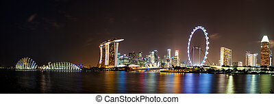 Singapore by night a view into Marina Bay