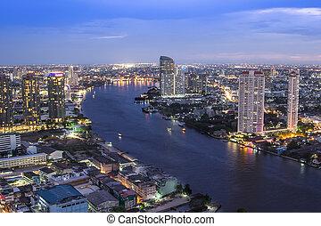 Thailand city skyline Twilight time