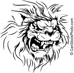 Lion mascot character - A black and white illustration of a...