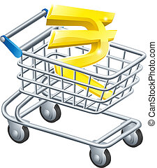 Rupee currency shopping cart - Rupee currency trolley...