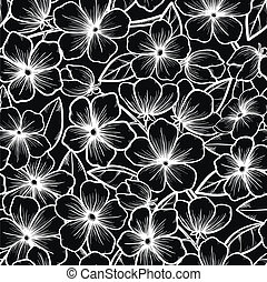 Beautiful seamless background in black-and-white style. Blossoming branches of trees. Outline of flowers.