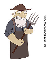 Farmer with a pitchfork in a hat