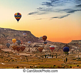 Balloons flying over Cappadocia Turkey - Hot air balloons...