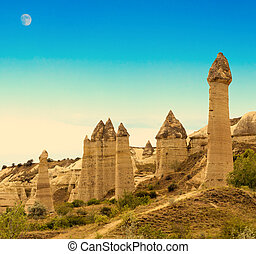 mountain landscape Turkey - Love valley in Goreme stone...