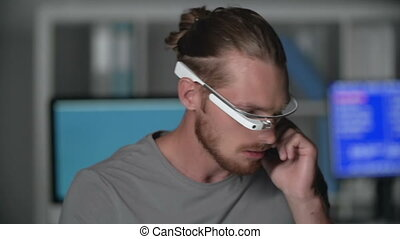 Overgadgetted - Close up of handsome guy wearing google...