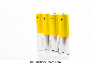 Battery AAA size arrange for use with white background