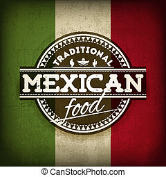 Mexican Food - Vector Illustration of Label for Mexican Food...