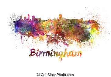 Birmingham skyline in watercolor splatters with clipping...