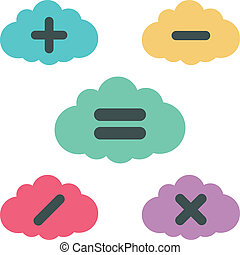 clouds arithmetic. vector illustration