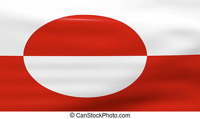 Waving Greenland Flag, ready for seamless loop.