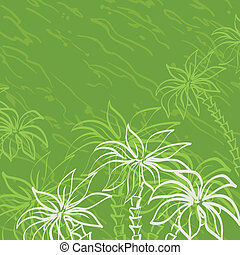 Palm trees contours on green background - Tropical...