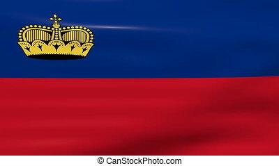 Waving Lichtenstein Flag, ready for seamless loop