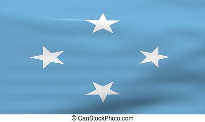 Waving Micronesia Flag