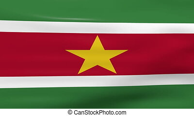 Waving Suriname Flag, ready for seamless loop.