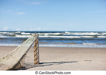 Fishing net on the background of the surf